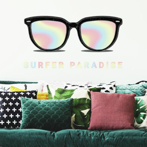 Holographic Sunglasses Black, Gray And White Peel and Stick Gaint Wall Decal