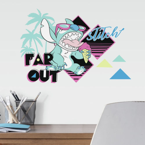 Disney Stitch Far Out Blue, Aqua And Yellow Peel and Stick wall Decal
