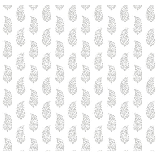 Small Prints Resource Library Gray Two-Inch Boteh Paisley Wallpaper - SAMPLE SWATCH ONLY