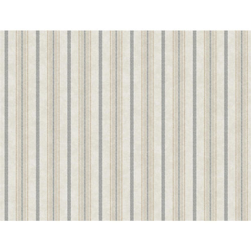 Stripes Resource Library Gray and Cream Shirting Stripe Wallpaper – SAMPLE SWATCH ONLY