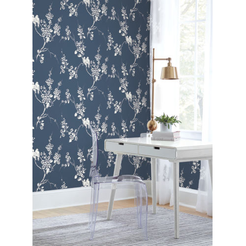 Silhouettes Navy Imperial Blossoms Branch Wallpaper