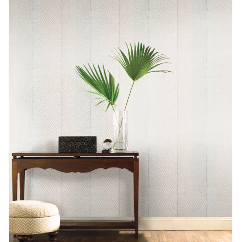 Tropics White Silver Palm Chevron Non Pasted Wallpaper - SAMPLE SWATCH ONLY