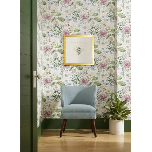 Handpainted  Pink Midsummer Floral Wallpaper