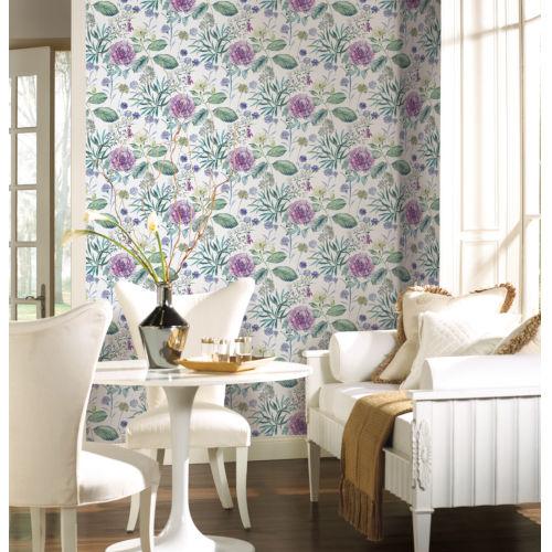 Handpainted  Violet Midsummer Floral Wallpaper