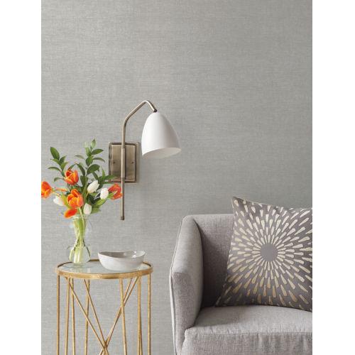 Handpainted  Silver Silken Grasses Wallpaper