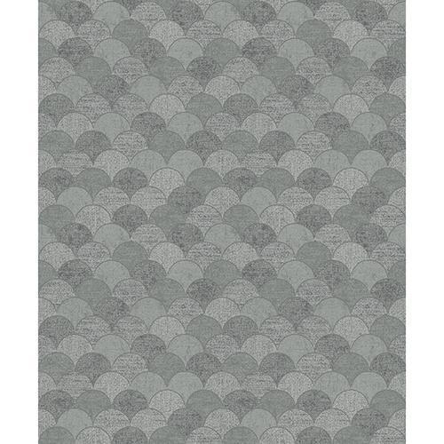 Antonina Vella Natural Opalescence Mermaid Scales Gray and Silver Wallpaper