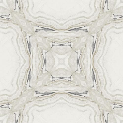 Antonina Vella Natural Opalescence Stone Kaleidoscope Gray and Black Wallpaper