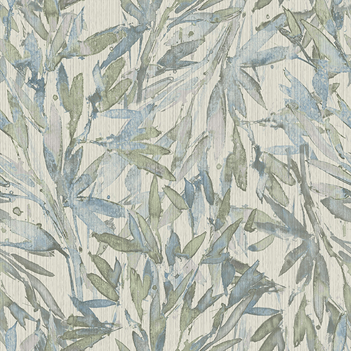 Antonina Vella Natural Opalescence Light Blue and Muted Green Rainforest Leaves Wallpaper