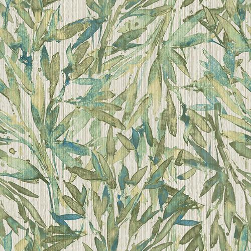 Antonina Vella Natural Opalescence Teal and Green Rainforest Leaves Wallpaper