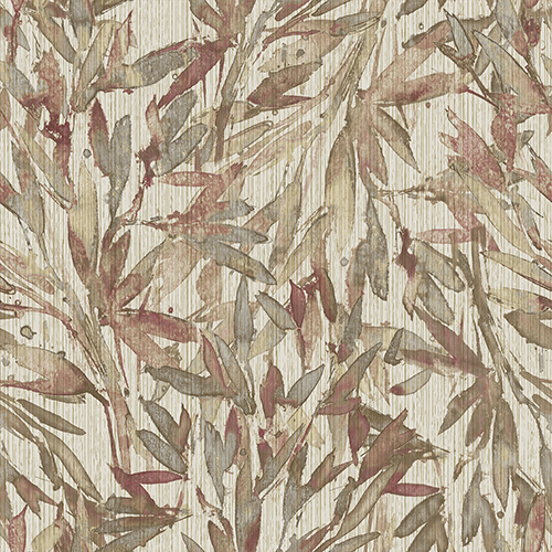 Antonina Vella Natural Opalescence Red and Warm Gray Rainforest Leaves Wallpaper