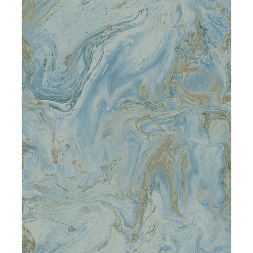 Antonina Vella Natural Opalescence Bright Blue and Gold Wallpaper
