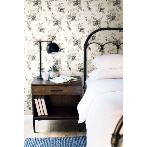 Magnolia Home Gray White Heirloom Rose Peel and Stick Wallpaper