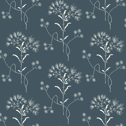Wildflower White on Navy Wallpaper