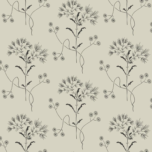 Wildflower White and Gatherings (Taupe) Wallpaper