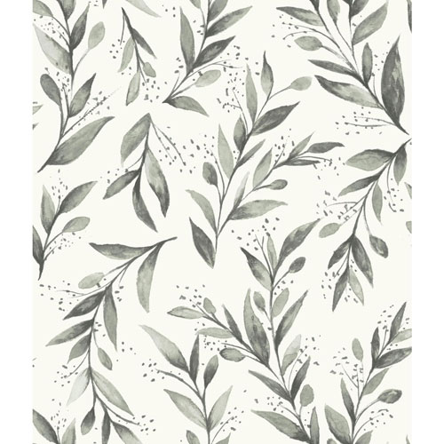 Olive Branch Charcoal Wallpaper