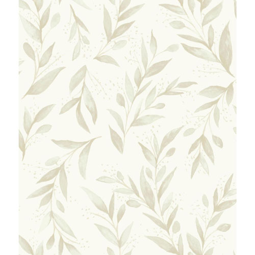 Olive Branch Beige Wallpaper