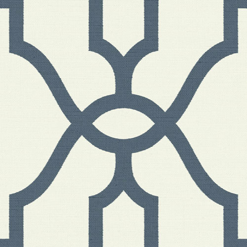 Woven Trellis Federal Blue on White Wallpaper