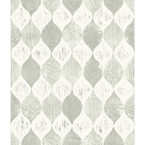 Woodblock Print Garden Trowel (Grey) Wallpaper - SAMPLE SWATCH ONLY
