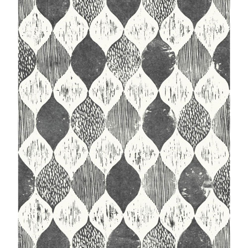 Magnolia Home Woodblock Print Black and White Wallpaper - SAMPLE SWATCH ONLY