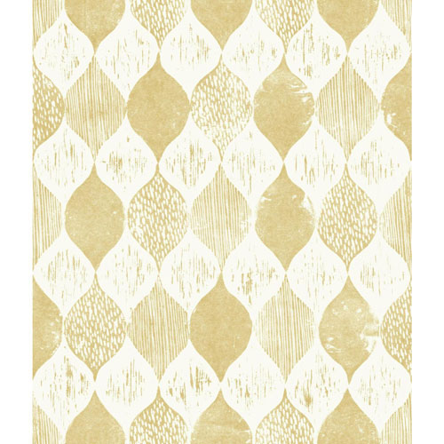 Magnolia Home Woodblock Print Yellow Wallpaper - SAMPLE SWATCH ONLY