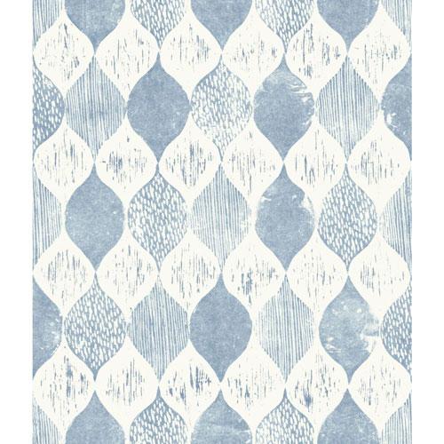 Woodblock Print True Blue Wallpaper