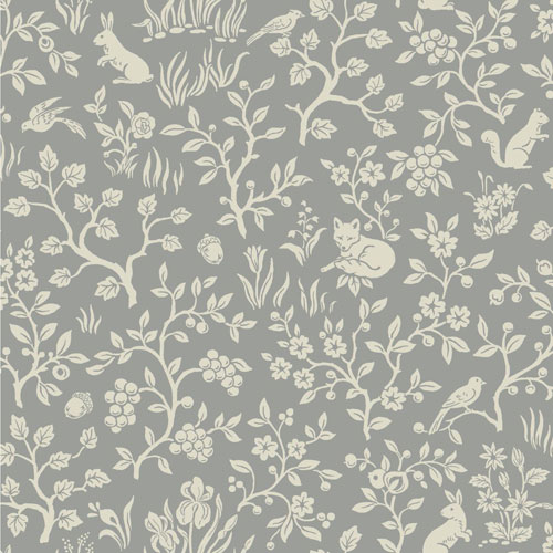 Fox and Hare Grey Wallpaper