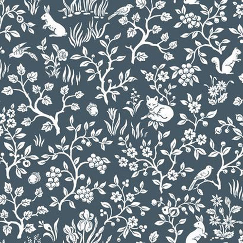Fox and Hare Navy Wallpaper