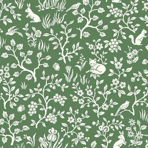 Fox and Hare Forest Green Wallpaper