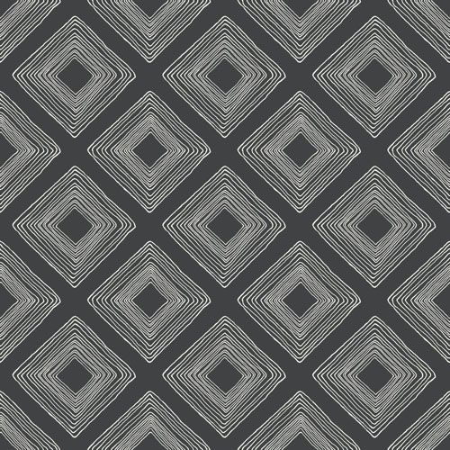 Diamond Sketch White on Black Wallpaper