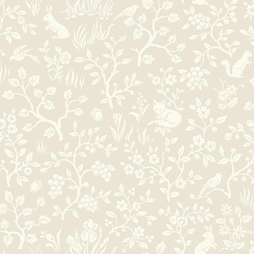Fox and Hare Pink Wallpaper
