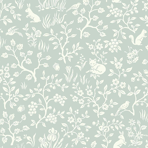 Fox and Hare Green Wallpaper