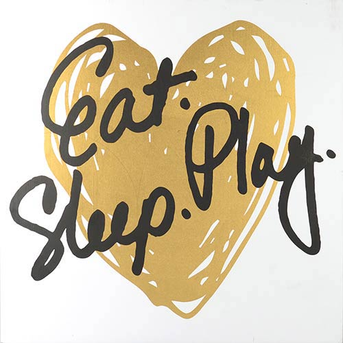 Linden Ave Eat Play Sleep , Gold Boxed Plaque