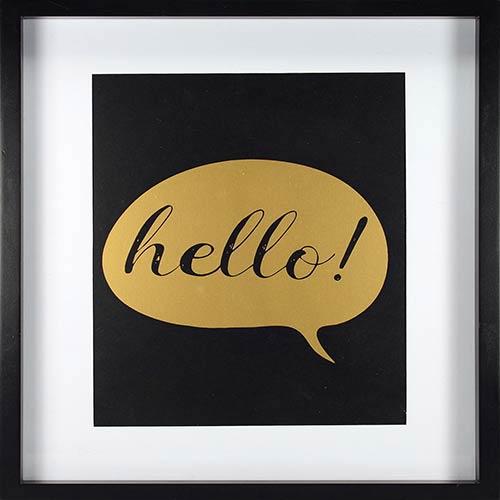Hello, Gold Framed Artwork with Mat and Metallic Screenprint