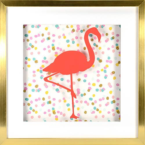 Confetti Flamingo Shadowbox