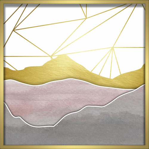 Linden Ave Watercolor Mountains Blush 24 In. Shadowbox Wall Art ...