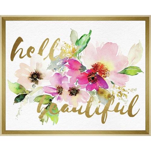 Hello Beautiful Layered Floral 20 x 16 In. Framed Wall Art