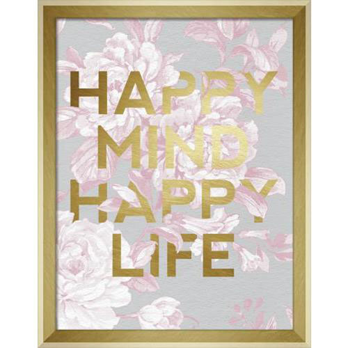 Linden Ave Happy Mind Happy Life 11 x 14 In. Framed Wall Art