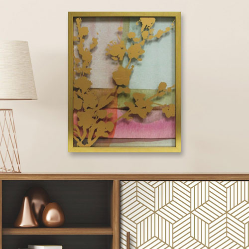 Pink Abstract Watercolor W. Peony Vine Silhouette 16 x 20 In. Shadowbox Wall Art