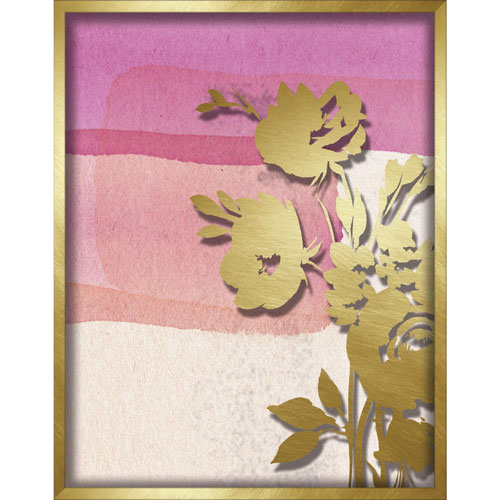 Pink Abstract Watercolor W. Peony Silhouette 11 x 14 In. Shadowbox Wall Art