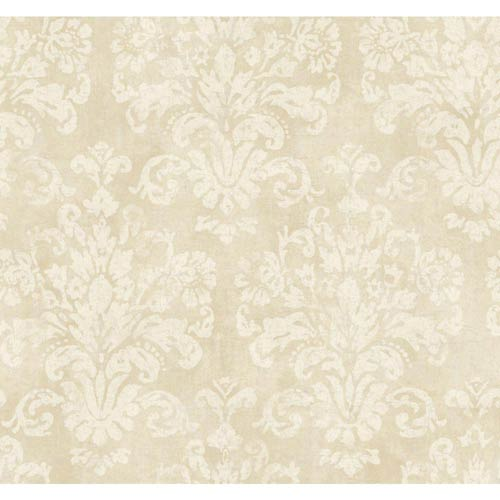 York Wallcoverings Windermere Warm Beige, White and Pale Gray Evelyn Wallpaper: Sample Swatch Only