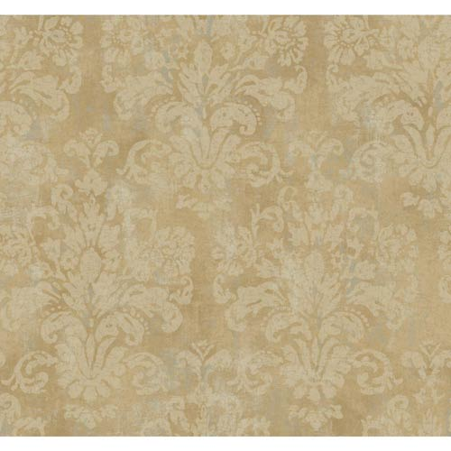 York Wallcoverings Windermere Cocoa, Platinum and Buff Evelyn Wallpaper: Sample Swatch Only