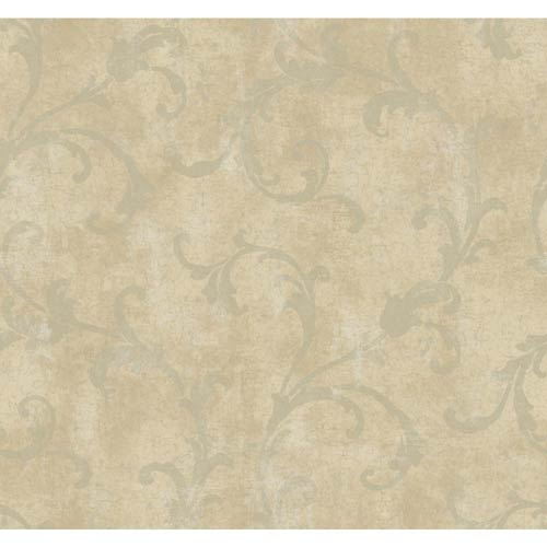York Wallcoverings Windermere Pale Gold, Putty and Cocoa Penelope Wallpaper: Sample Swatch Only