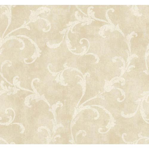 York Wallcoverings Windermere Warm Beige, White and Pale Gray Penelope Wallpaper: Sample Swatch Only