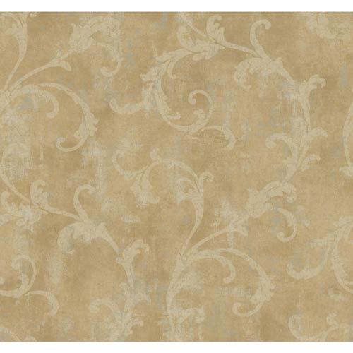York Wallcoverings Windermere Cocoa, Platinum and Buff Penelope Wallpaper: Sample Swatch Only
