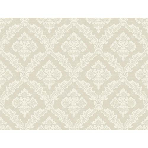 York Wallcoverings Windermere Pearl and Chalk White Lawrence Wallpaper: Sample Swatch Only