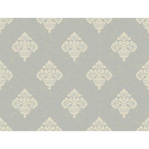 York Wallcoverings Windermere Silver, Ecru and Cream Archival Frame Jenson Wallpaper: Sample Swatch Only