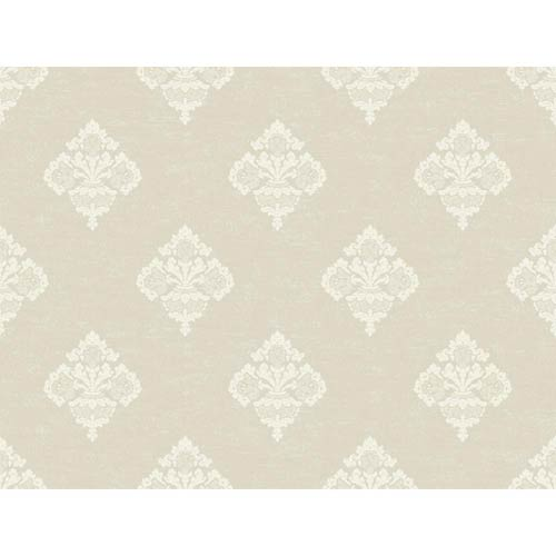York Wallcoverings Windermere Blush and Chalk White Archival Frame Jenson Wallpaper: Sample Swatch Only
