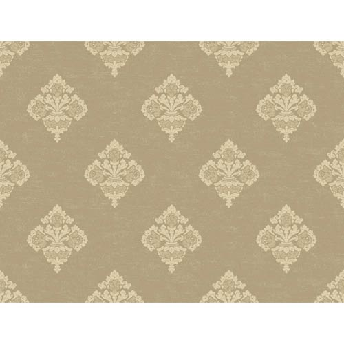 York Wallcoverings Windermere Gold, Toasted Almond and Cream Archival Frame Jenson Wallpaper: Sample Swatch Only