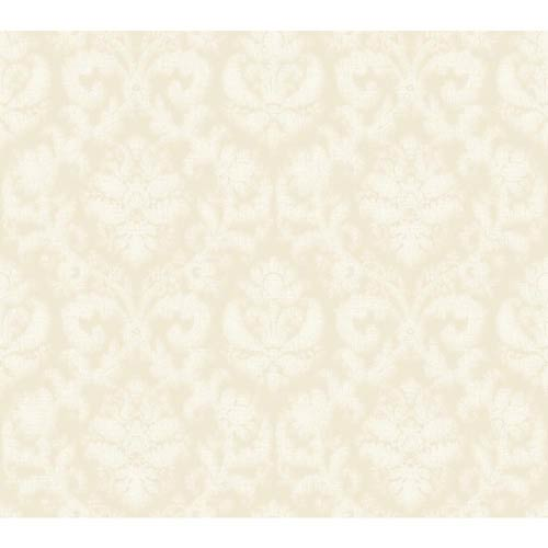 York Wallcoverings Windermere Ivory Pearl, Frosty White and Taupe Amelia Wallpaper: Sample Swatch Only