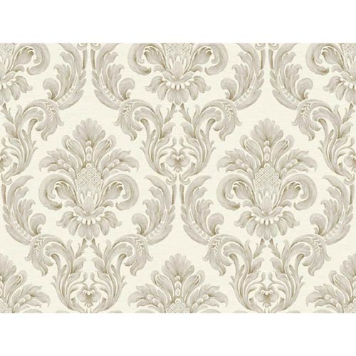 York Wallcoverings Windermere Off White, Graphite and Earth Brown Virginia Wallpaper: Sample Swatch Only